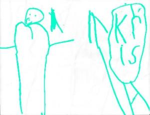 Child's drawing of Kris Rice
